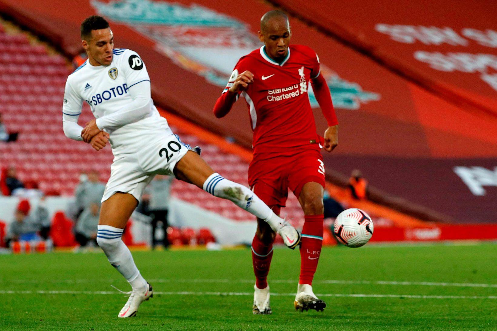 Rodrigo, Leeds, og Fabinho, Liverpool, eigast við í leik Liverpool …