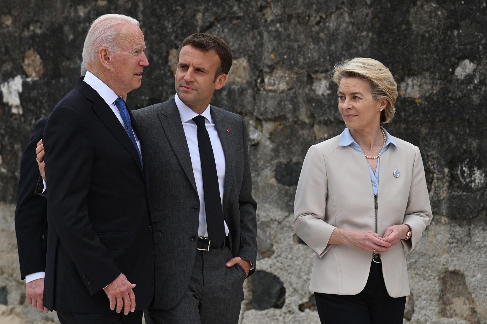 Joe Biden, forseti Bandaríkjanna, Emmanuel Macron, forseti Frakklands og Ursula …