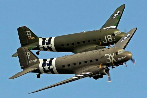 Fifteen DC-3/C-47 aircraft, like the ones in the picture, will be arriving in Reykjavík next week.