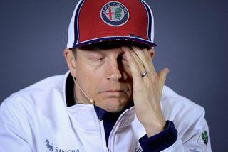 Kimi Räikkönen á blaðamannafundi í Sjanghæ.