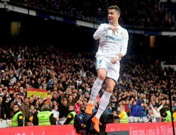 Cristiano Ronaldo fagnar einu af mörkum sínum í gærkvöld.