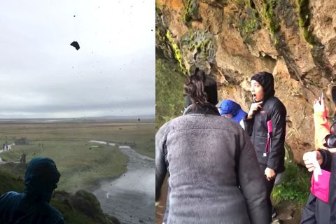 A screenshot from a video by tourist Reneé Green who witnessed the huge rocks falling at Seljalandsfoss.