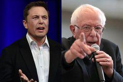 Elon Musk og Bernie Sanders virðast ekki vera sérstaklega hrifnir af hvorum öðrum.