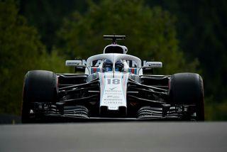 Lance Stroll á Williamsbílnum í belgíska kappakstrinum í Spa-Francorchamps. Útlit er fyrir að hann klári ...
