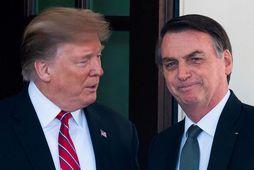 Donald Trump og Bolsonaro í Hvíta húsinu í júlí síðastliðnum.