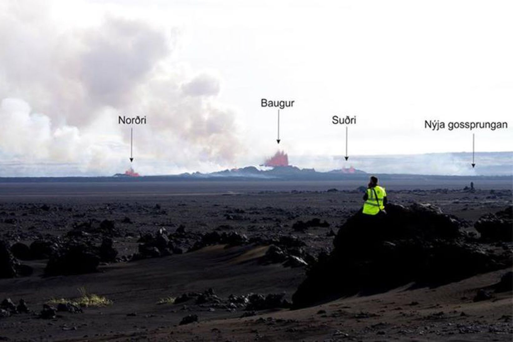 The names of the new craters, Norðri, Baugur and Suðri. …