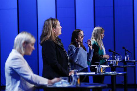 Lilja Alfreðsdóttir, Svandís Svavarsdóttir, Katrín Jakobsdóttir og Áslaug Arna Sigurbjörnsdóttir á fundinum í Hörpu í …