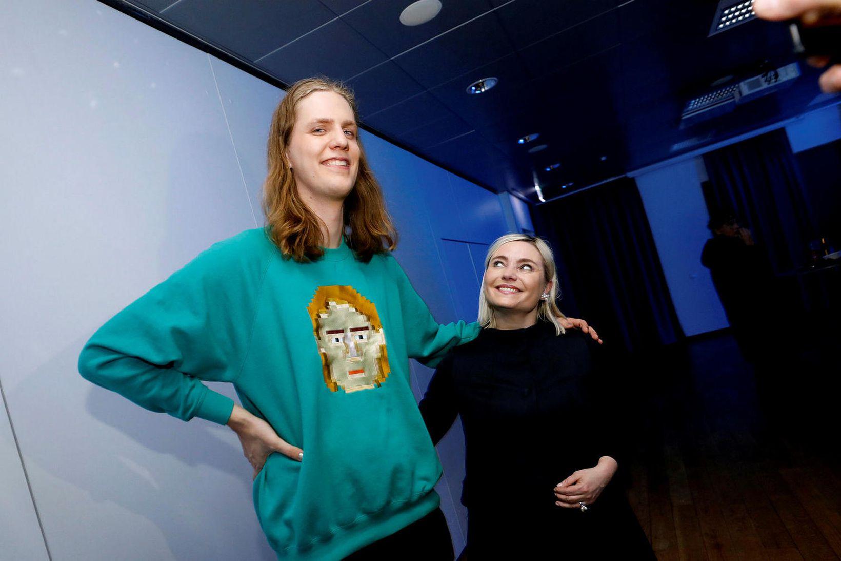 Daði Freyr og Lilja Alfreðsdóttir menntamálaráðherra.