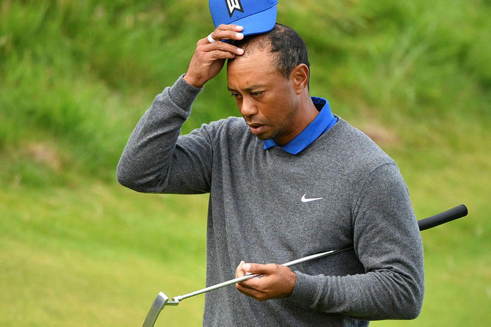 Tiger Woods var ekki skemmt að lokinni átjándu holunni í …