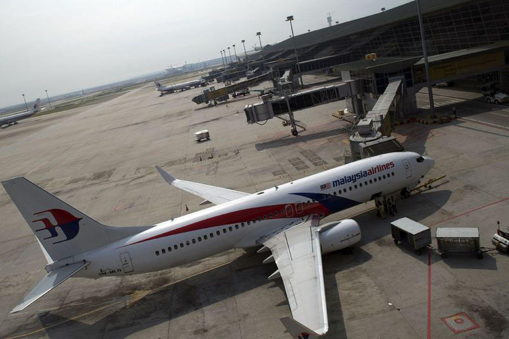 Flugvél frá Malasyan Airlines á flugvellinum í Kuala Lumpur árið …