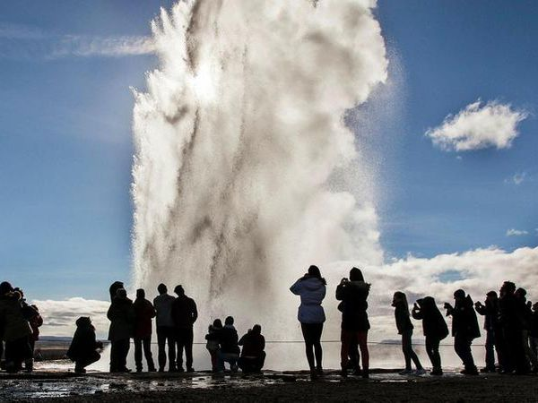 Tourists in the Geysir hotspring area.