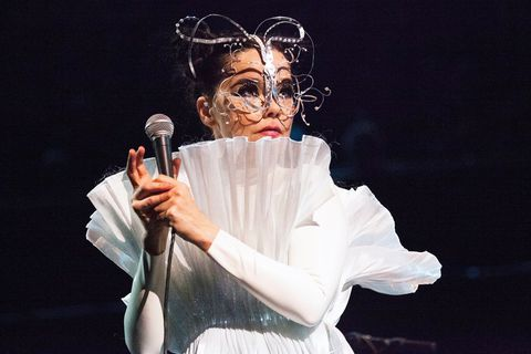 "Björk at the Royal Albert Hall, here wearing a mask by James Merry and a stunning ""light"" dress by Icelandic designer Hildur Yeoman."