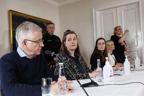 Chief Epidemiologist Þórólfur Guðnason, Minister of Health Svandís Svavarsdóttir, Prime Minister Katrín Jakobsdóttir and Minister for Education Lilja Alfreðsdóttir.