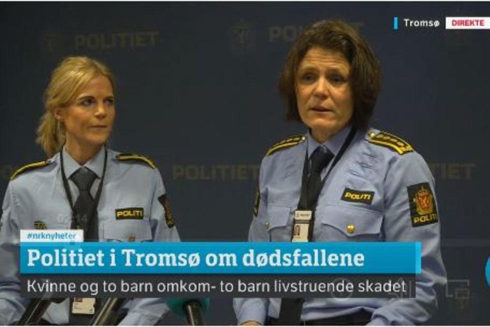 Frá blaðamannafundi lögreglunnar í Tromsø í morgun, grunur leikur á ...
