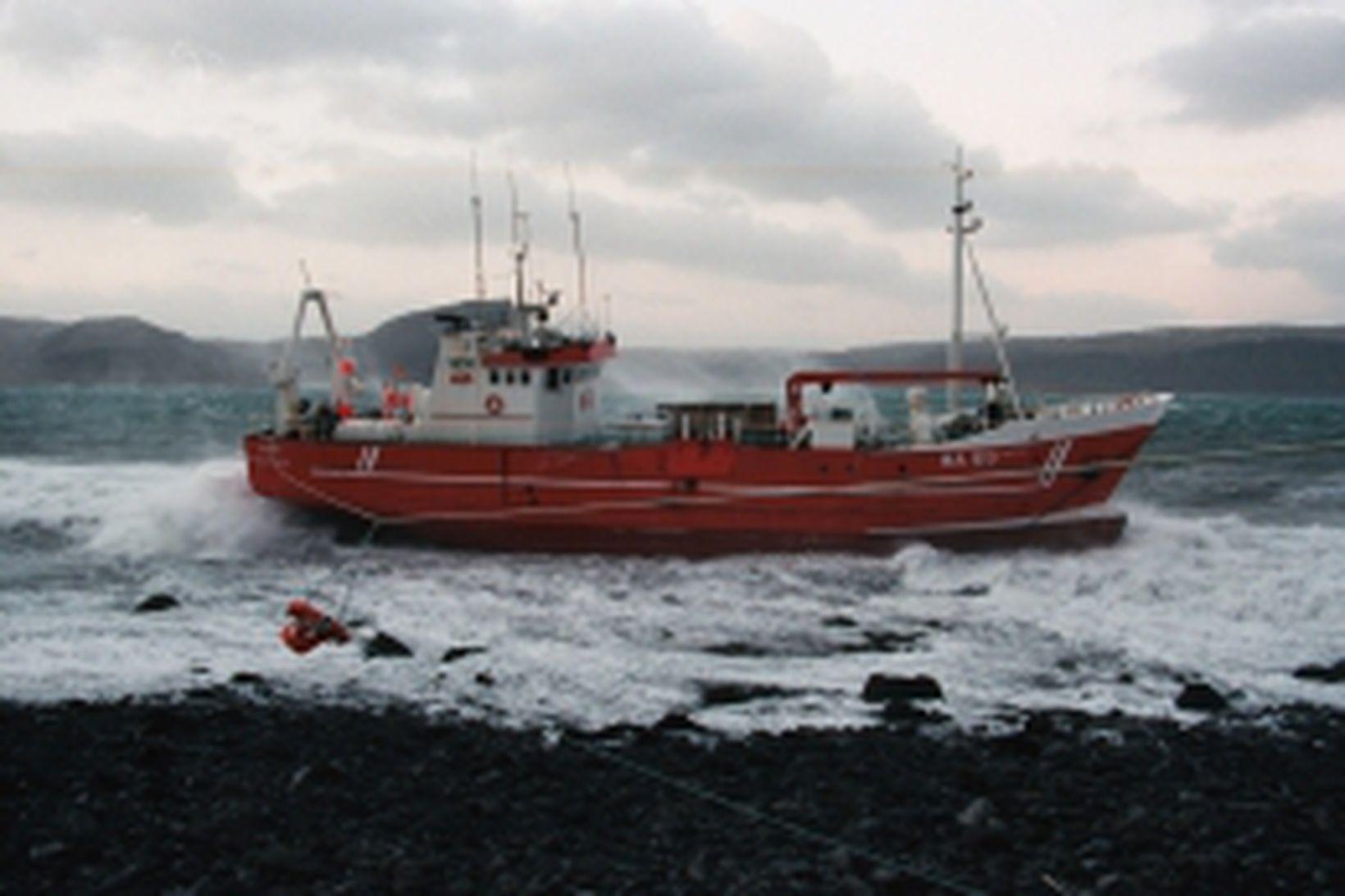 Núpur á strandstað á Patreksfirði árið 2001