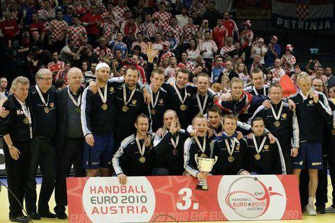 Iceland celebrating taking bronze in Euro 2010.