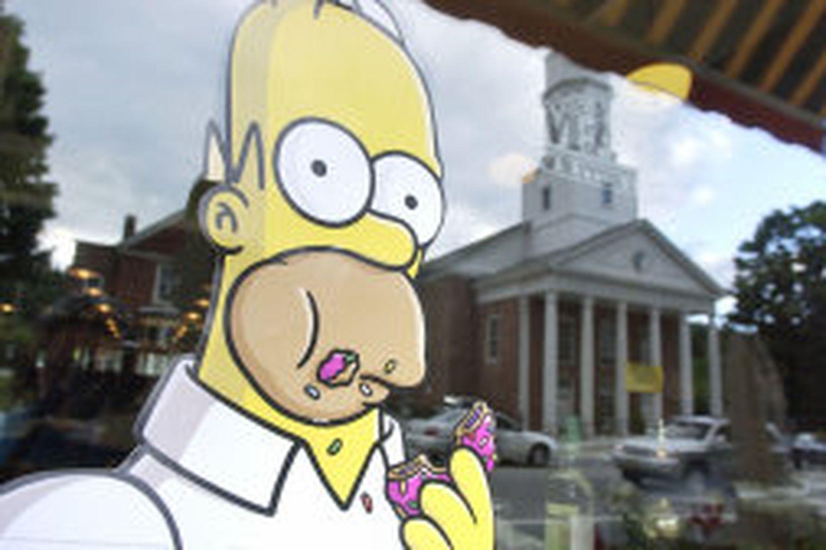 Myndir af Simpsons-fjölskyldunni má sá hvarvetna í bænum Springfield í …