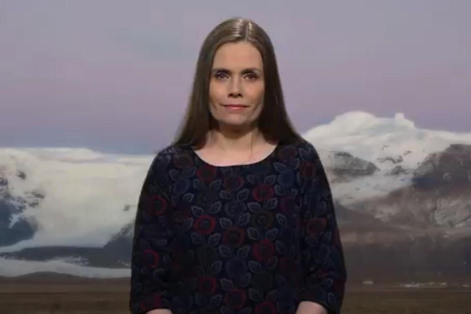Katrín er hún flutti ávarpið.