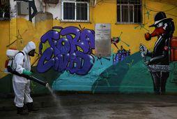 Svæði í borginni Rio de Janeiro í Brasilíu sótthreinsað.
