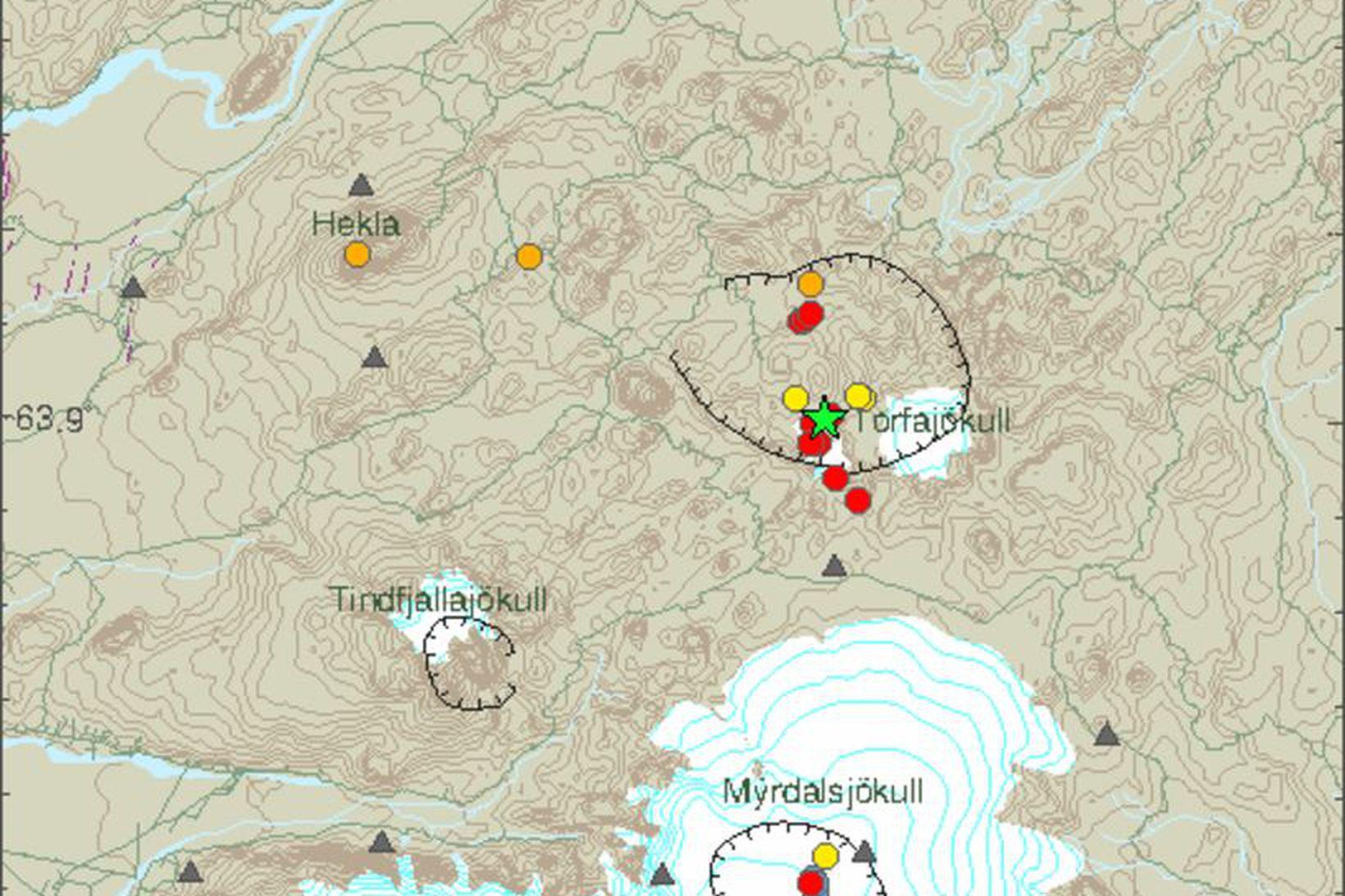Skjálfti af stærðinni 3,3 mældist í Torfajökli kl. 14:15 í …