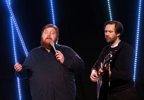 Valdimar og Örn í bingóinu í gær.