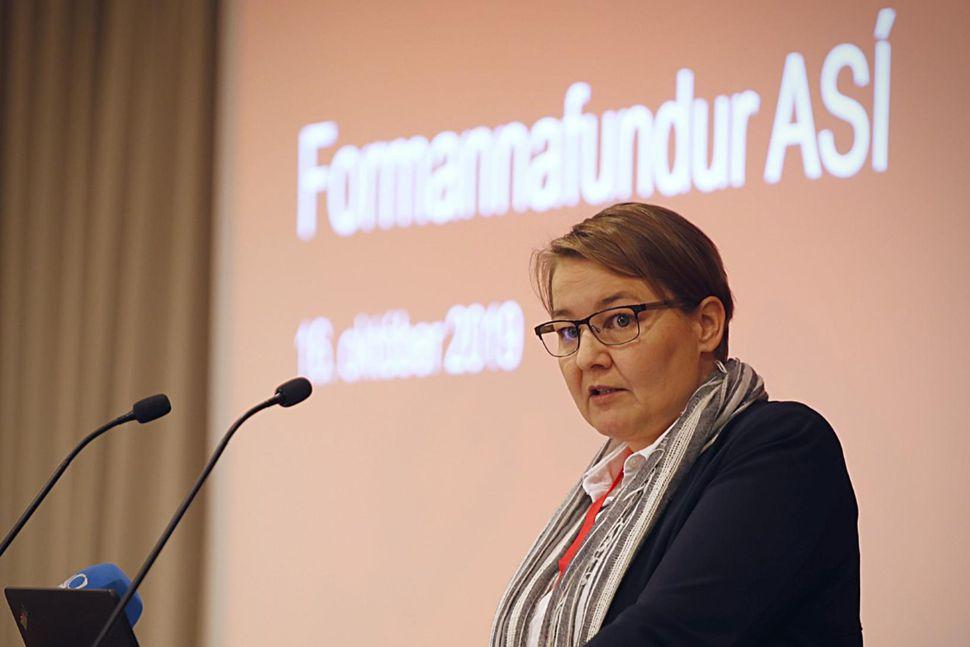 Drífa Snædal, forseti ASÍ, á formannafundinum.