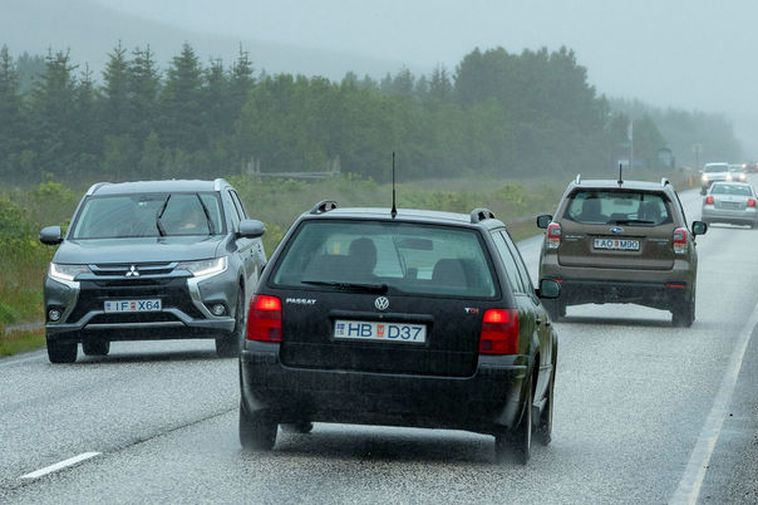 Traffic is heavy on the road to Þingvellir national park.