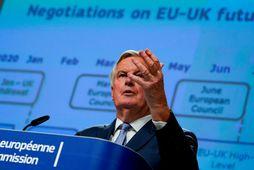 Michel Barnier fer fyrir samninganefnd ESB. Hann er undir þrýstingi frá stórum fiskveiðiþjóðum innan ESB.