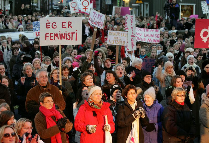 Áfram stelpur!  The women's strike ten years ago.