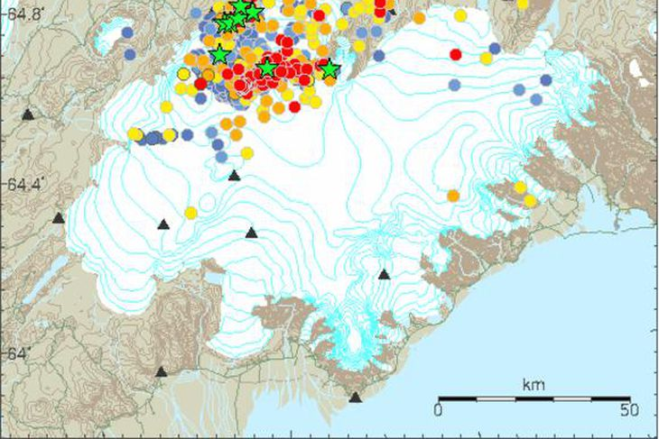 Earthquakes in and around Bárðarbunga.