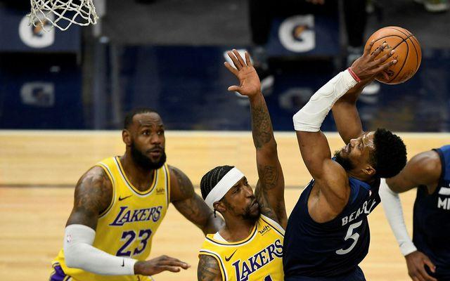 Malik Beasley í leik með Minnesota Timberwolves gegn meisturunum í LA Lakers.