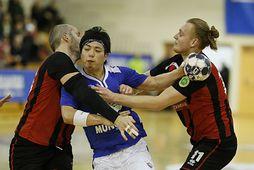 Ryuto Inage í kröppum dansi gegn Víkingi í kvöld.