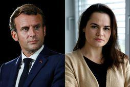 Emmanuel Macron og Svetlana Tikhanovskaya á samsettri mynd.