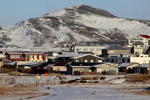 Grindavík and Þorbjörn mountain.