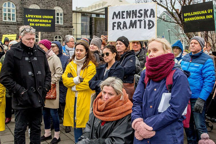 Unrest in Iceland: Protests last weekend demanding a higher minimum wage.