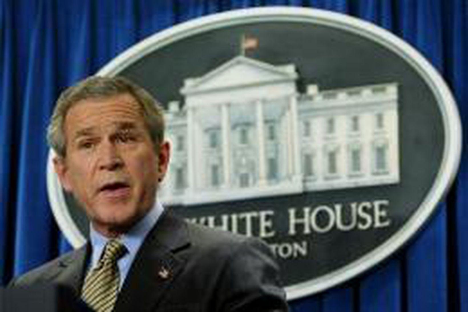George W. Bush ræðir við blaðamenn í Hvíta húsinu í …