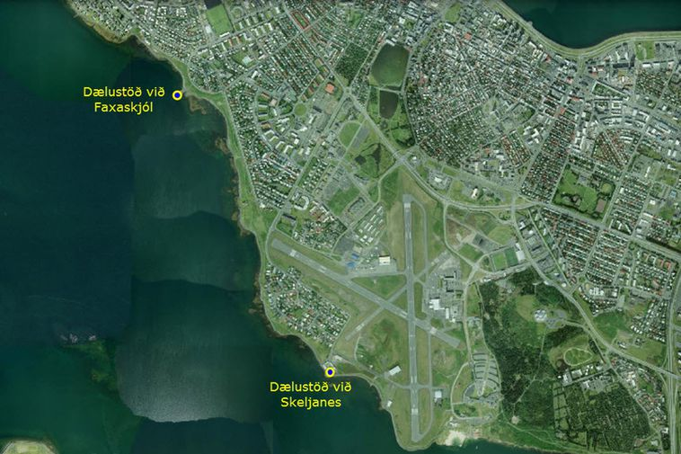 The image shows Reykjavík and the two pumping stations that will pump unfiltered sewage into ...