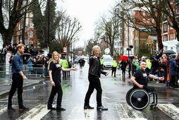 Harry Bretaprins og Jon Bon Jovi á gangbrautinni á Abbey Road þann 28. febrúar 2020. …