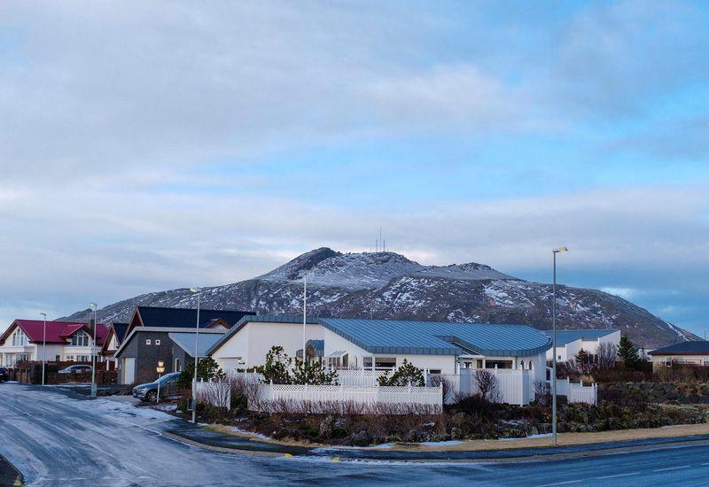 Grindavík, with Þorbjörn mountain in the background.