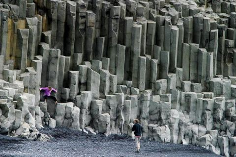 The man, who was travelling in Iceland with his wife was standing in these basalt columns on the shore when the wave hit. (The photo is otherwise not connected with the incident.)