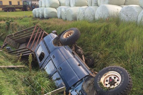 The 4x4 was thrown into a ditch.