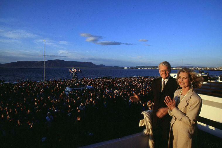 Ólafur Ragnar Grímsson and his first wife Guðrún Katrín Þorbergsdóttir greeting the crowds the day ...
