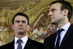 Fyrrverandi ráðherrar, Manuel Valls og Emmanuel Macron.