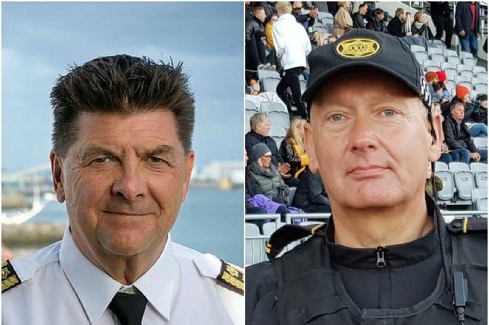 Haraldur Johannessen ríkislögreglustjóri (t.v.) og Arinbjörn Snorrason formaður Lögreglufélags Reykjavíkur …