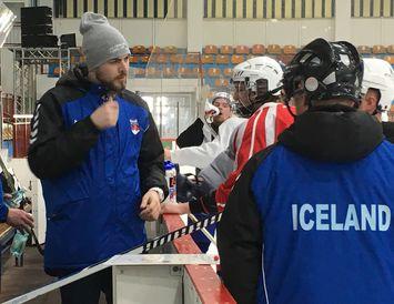 Josh Popsie á æfingu Íslands á HM í Rúmeníu.