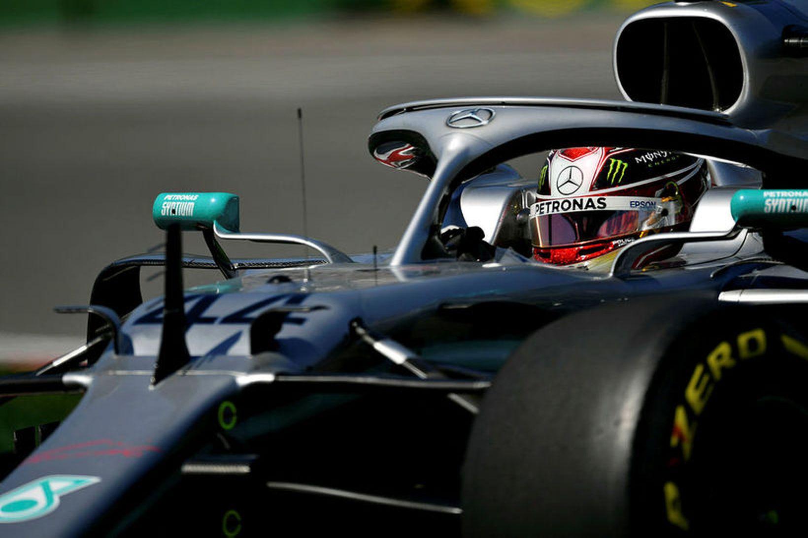Lewis Hamilton á æfingunni í Montreal í dag.