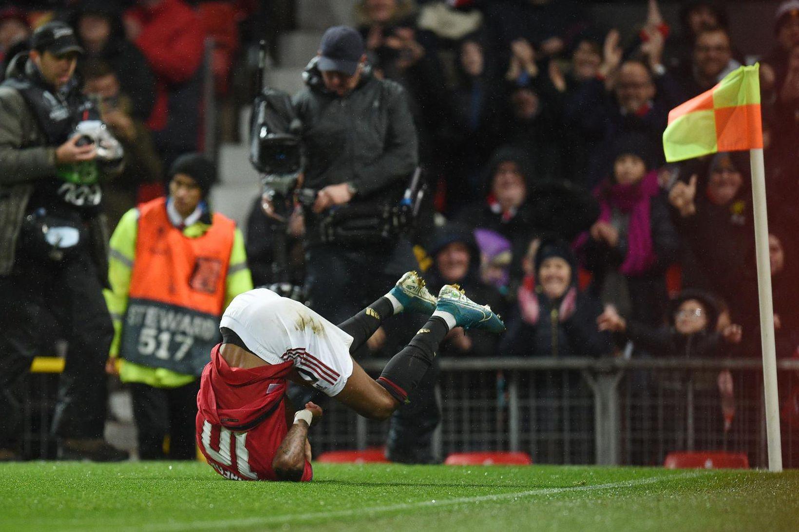 Marcus Rashford fagnar marki sínu og þriðja marki Manchester United …