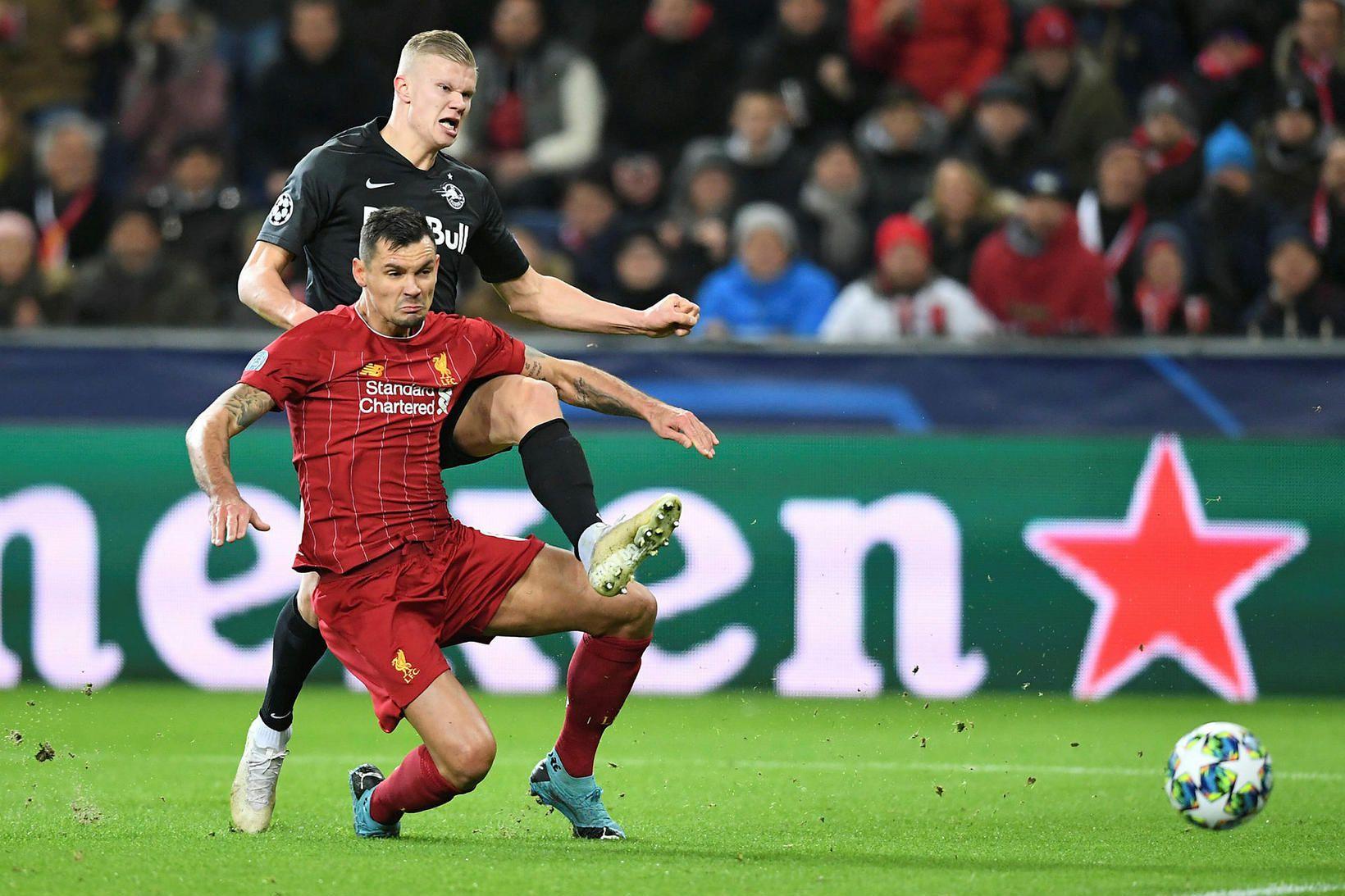 Dejan Lovren í leik Liverpool og Salzburg 10. desember en …