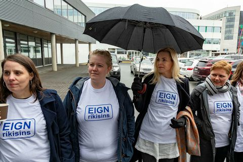 Midwives outside the meeting yesterday.