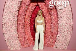 Gwyneth Paltrow mætti í brjóstahaldara og buxum á sýningu Goop Lab.